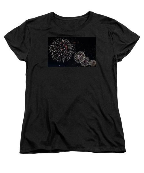 Women's T-Shirt (Standard Cut) featuring the photograph Pink Fireworks by Lilliana Mendez