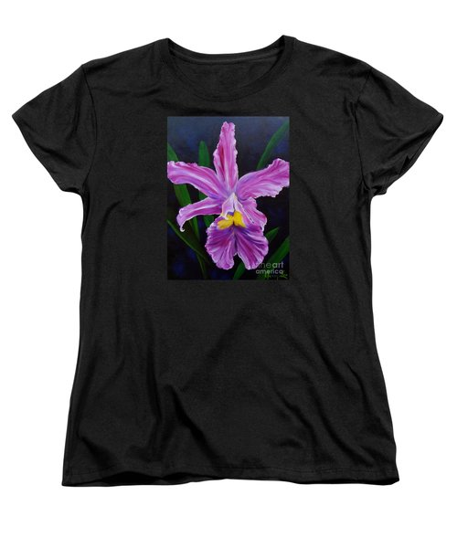 Women's T-Shirt (Standard Cut) featuring the painting Purple Orchid by Jenny Lee