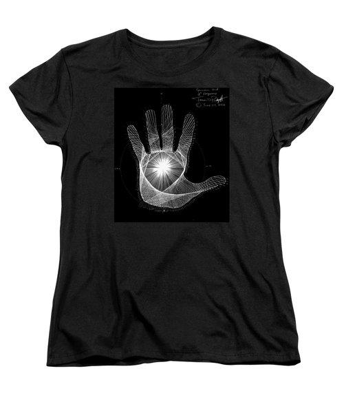 Women's T-Shirt (Standard Cut) featuring the drawing Quantum Hand Through My Eyes by Jason Padgett