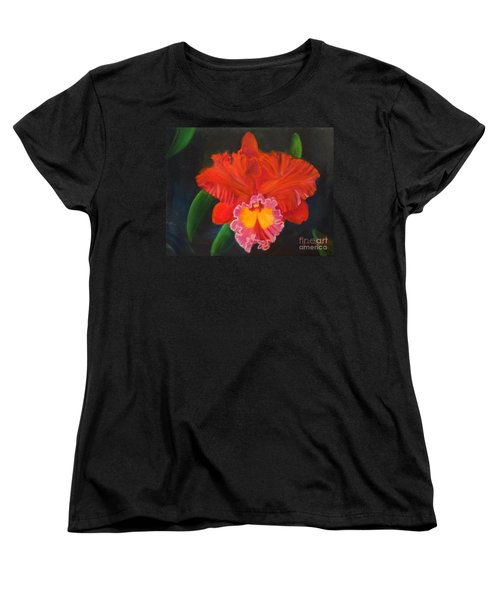 Women's T-Shirt (Standard Cut) featuring the painting Red Orchid by Jenny Lee