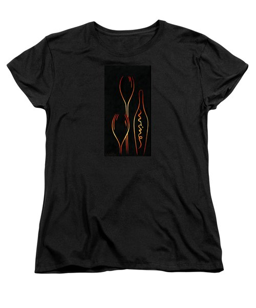 Women's T-Shirt (Standard Cut) featuring the painting Simply Wine by Sandi Whetzel