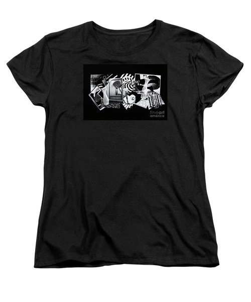 Women's T-Shirt (Standard Cut) featuring the mixed media 2d Elements In Black And White by Xueling Zou