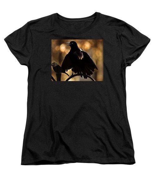 Women's T-Shirt (Standard Cut) featuring the photograph Common Grackle by Robert L Jackson