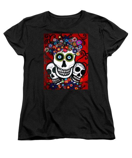 Women's T-Shirt (Standard Cut) featuring the painting 3 Skulls by Pristine Cartera Turkus