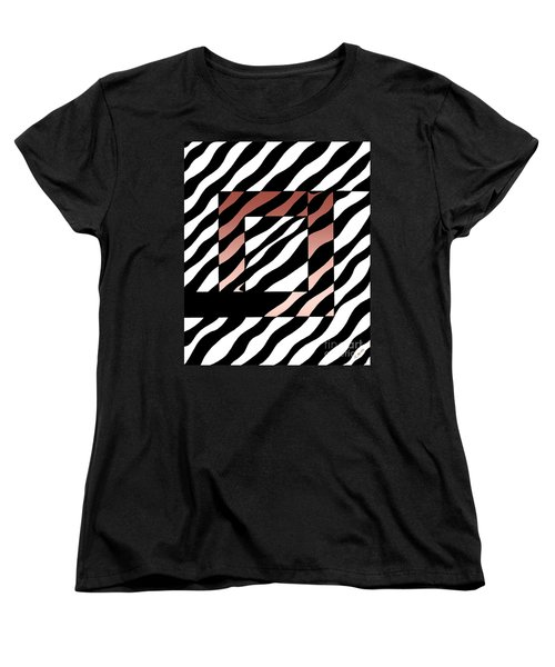 Women's T-Shirt (Standard Cut) featuring the drawing 3 Squares With Ripples by Joseph J Stevens