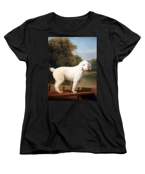 Stubbs' White Poodle In A Punt Women's T-Shirt (Standard Cut) by Cora Wandel