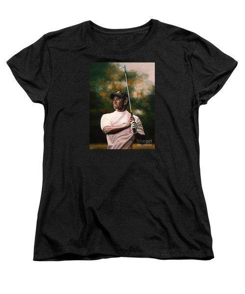 Tiger Woods  Women's T-Shirt (Standard Cut) by Paul Meijering