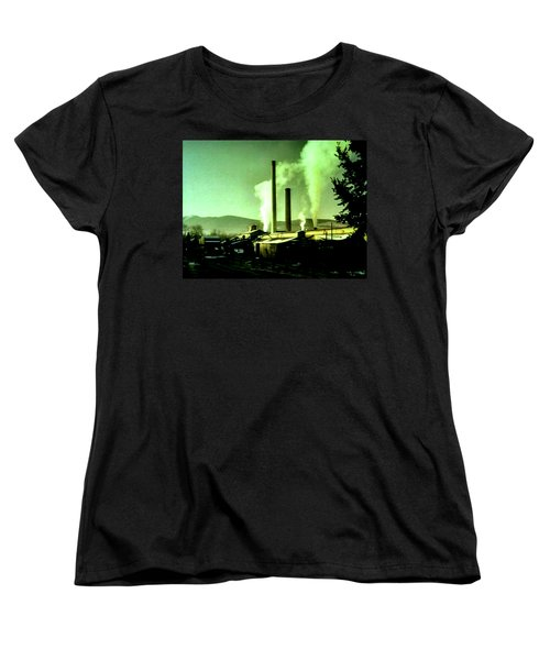 Women's T-Shirt (Standard Cut) featuring the painting Twin Peaks by Luis Ludzska