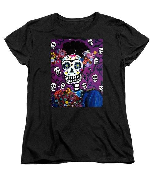 Women's T-Shirt (Standard Cut) featuring the painting Frida Dia De Los Muertos by Pristine Cartera Turkus