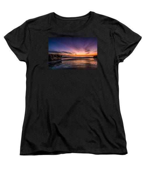 4 Mile Beach Sunset Women's T-Shirt (Standard Cut) by Linda Villers