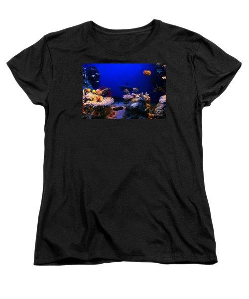 Underwater Scene Women's T-Shirt (Standard Cut) by Michal Bednarek