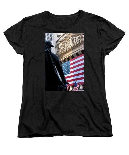 Wall Street Flag Women's T-Shirt (Standard Cut) by Brian Jannsen