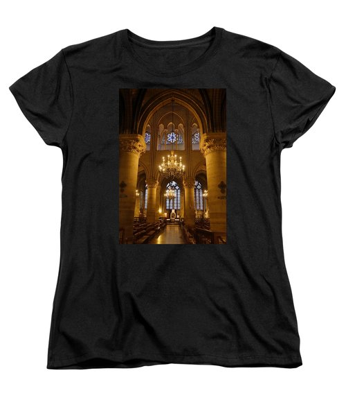 Architectural Artwork Within Notre Dame In Paris France Women's T-Shirt (Standard Cut) by Richard Rosenshein