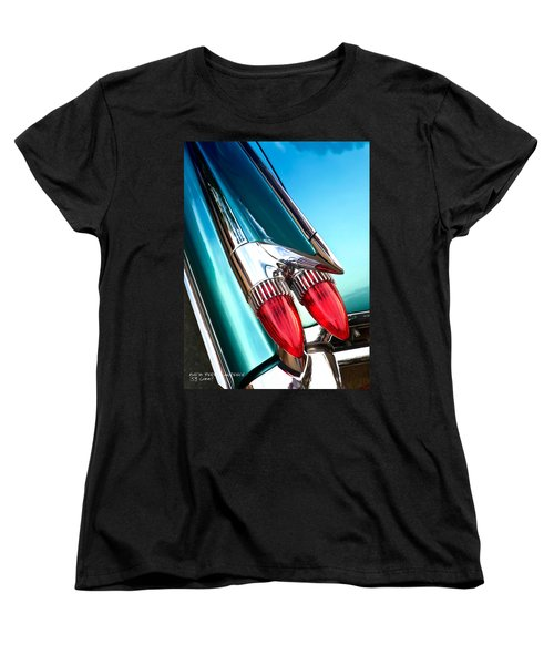 Women's T-Shirt (Standard Cut) featuring the photograph '59  Caddy Tail Fins by David Perry Lawrence