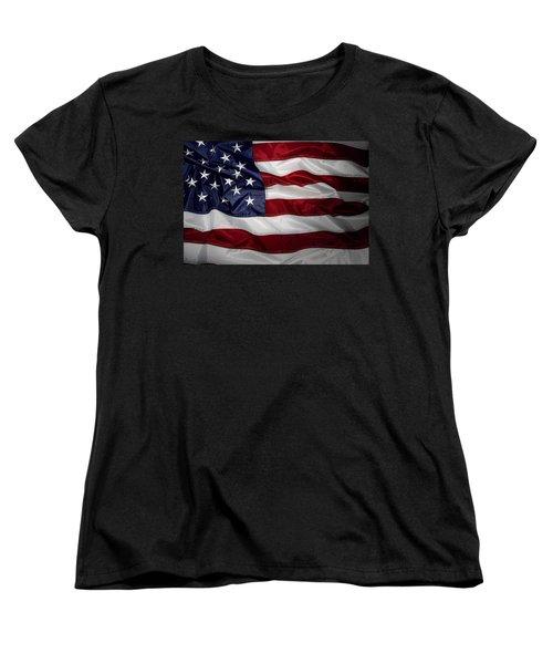 American Flag Women's T-Shirt (Standard Cut) by Les Cunliffe