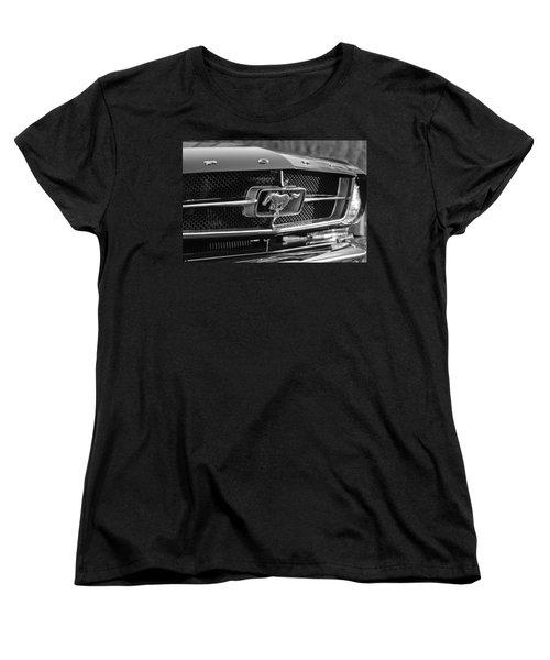 1965 Shelby Prototype Ford Mustang Grille Emblem Women's T-Shirt (Standard Cut) by Jill Reger