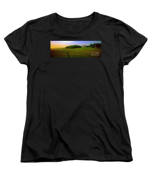 Women's T-Shirt (Standard Cut) featuring the photograph  Conley Rd Spring Pasture Oaks And Barn  by Tom Jelen