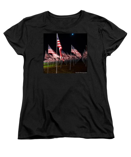 9-11 Flags Women's T-Shirt (Standard Cut) by Gandz Photography