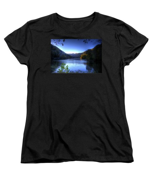Women's T-Shirt (Standard Cut) featuring the photograph A Blue Lake In The Woods by Jonny D