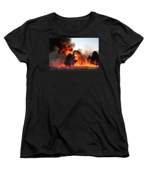 A Burst Of Flames From The White Draw Fire Women's T-Shirt (Standard Cut) by Bill Gabbert