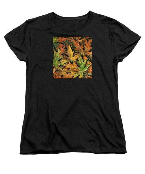 Women's T-Shirt (Standard Cut) featuring the painting A Carpet Of  Falling Leaves by Dragica  Micki Fortuna