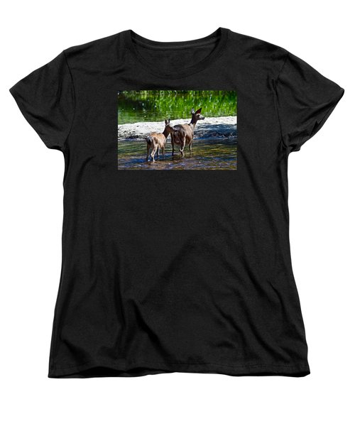 Women's T-Shirt (Standard Cut) featuring the photograph A Doe And Fawn by Brian Williamson