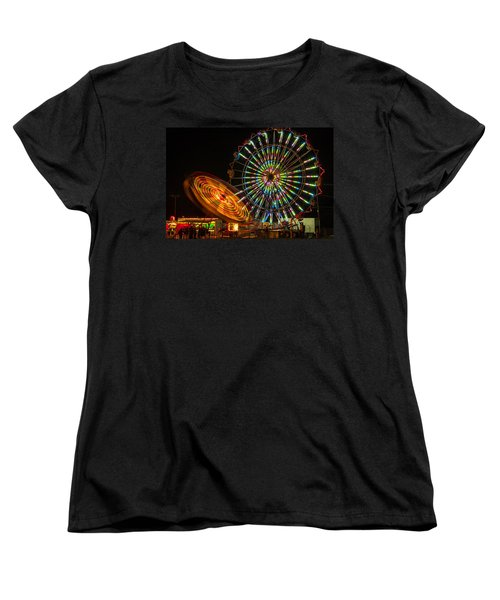 Women's T-Shirt (Standard Cut) featuring the photograph Colorful Carnival Ferris Wheel Ride At Night by Jerry Cowart