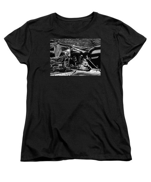 A Harley Davidson And The Virgin Mary Women's T-Shirt (Standard Cut) by Andy Prendy