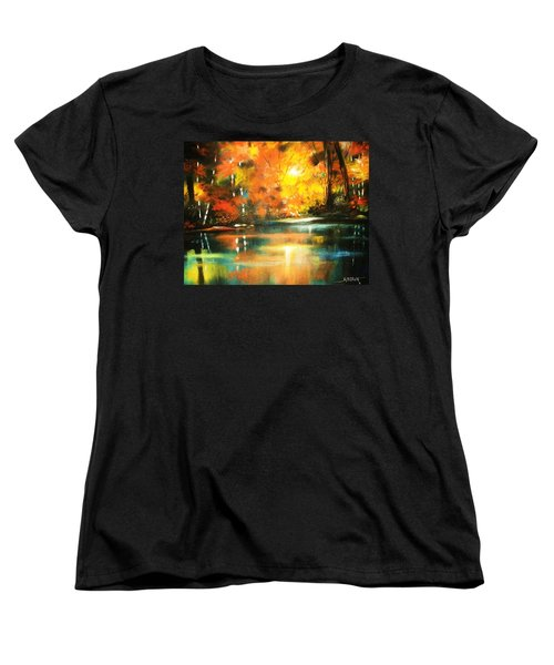 Women's T-Shirt (Standard Cut) featuring the painting A Light In The Forest by Al Brown
