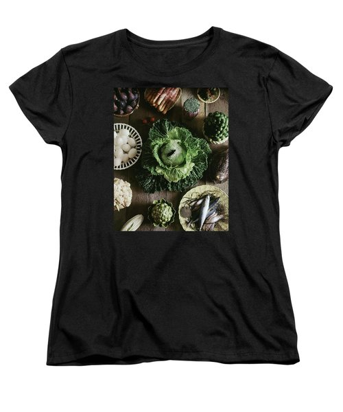 A Mixed Variety Of Food And Ceramic Imitations Women's T-Shirt (Standard Cut) by Fotiades