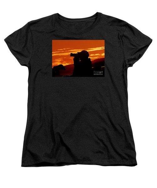 Women's T-Shirt (Standard Cut) featuring the photograph A Photographer Enjoying His Work by Kathy Baccari