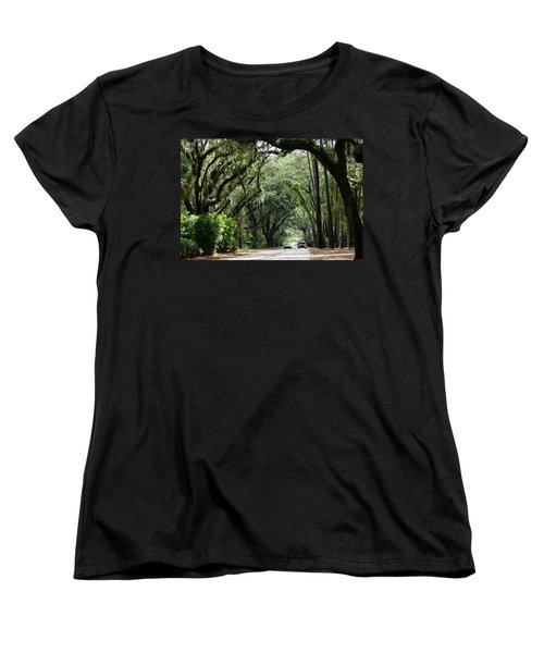 A Pretty Tree Covered Road Somewhere On Hilton Head Island Women's T-Shirt (Standard Cut) by Kim Pate