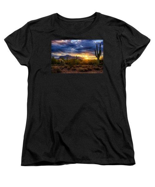 A Sonoran Desert Sunrise Women's T-Shirt (Standard Cut) by Saija  Lehtonen