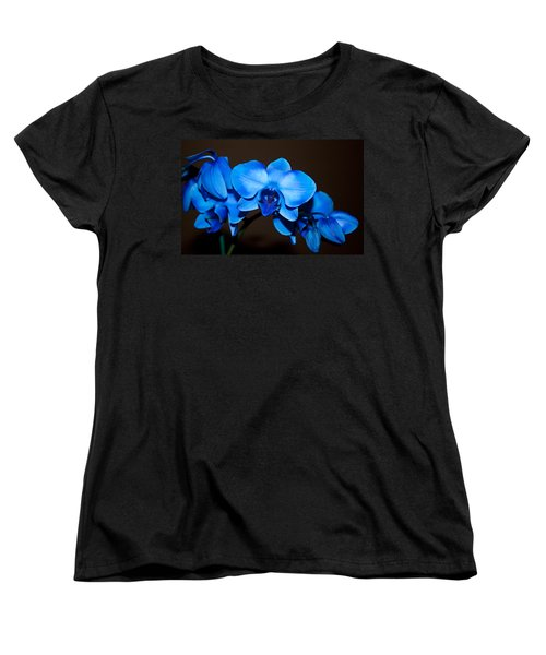 Women's T-Shirt (Standard Cut) featuring the photograph A Stem Of Beautiful Blue Orchids by Sherry Hallemeier