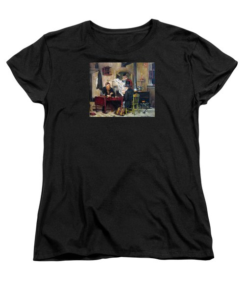 Women's T-Shirt (Standard Cut) featuring the painting A Study Of Waiting For The Stage by Donna Tucker