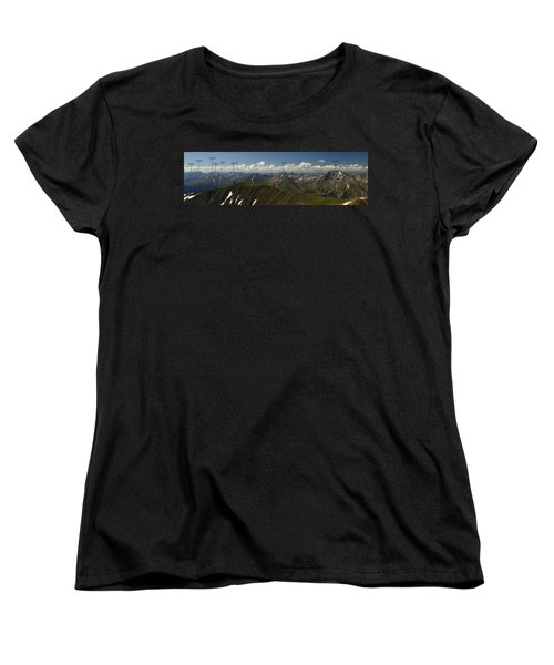 A Summit View Panorama Text Women's T-Shirt (Standard Cut) by Jeremy Rhoades