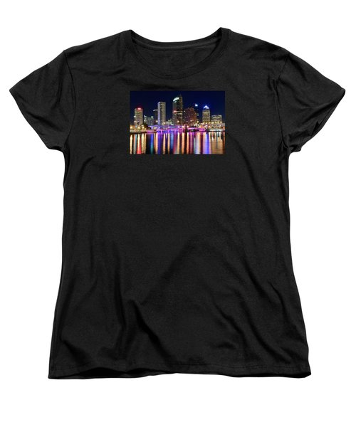 A Tampa Bay Night Women's T-Shirt (Standard Cut) by Frozen in Time Fine Art Photography