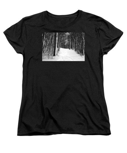 A Walk In Snow Women's T-Shirt (Standard Cut) by Joe Faherty