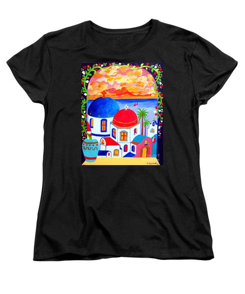 Women's T-Shirt (Standard Cut) featuring the painting A Window Over Santorini by Roberto Gagliardi