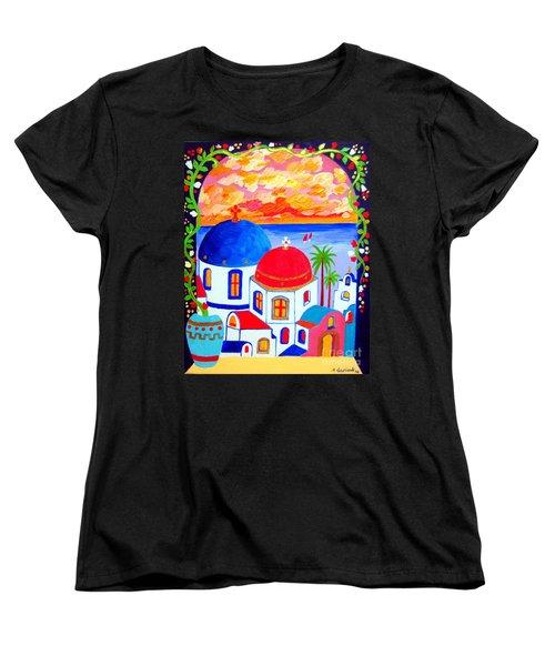 A Window Over Santorini Women's T-Shirt (Standard Cut) by Roberto Gagliardi