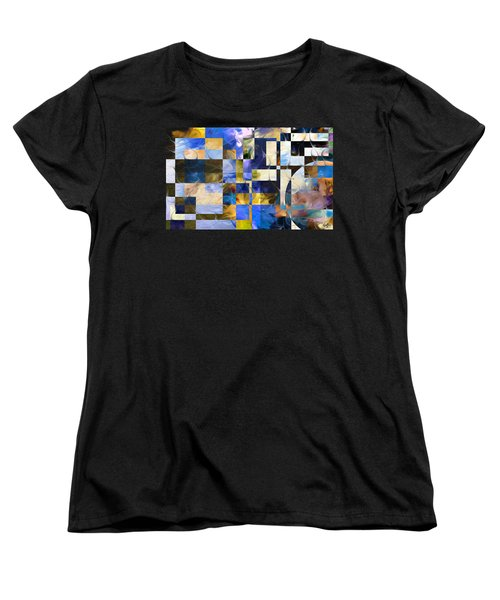 Women's T-Shirt (Standard Cut) featuring the painting Abstract In Blue And White by Curtiss Shaffer