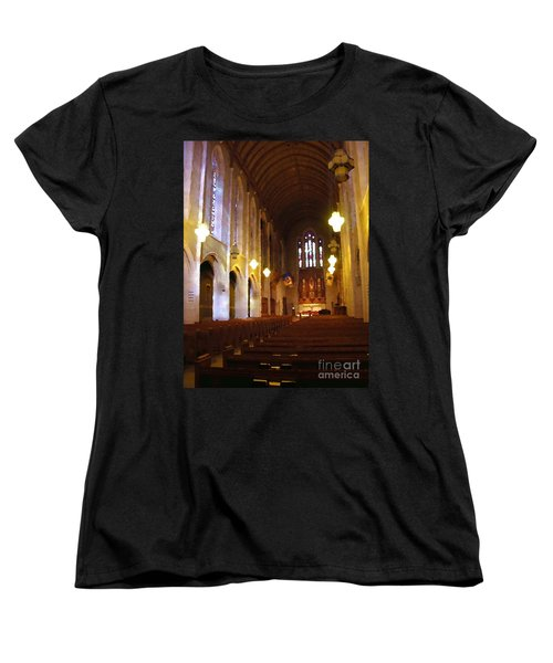 Abstract - Egner Memorial Chapel Interior Women's T-Shirt (Standard Cut) by Jacqueline M Lewis