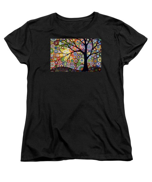 Women's T-Shirt (Standard Cut) featuring the painting Abstract Original Modern Tree Landscape Visons Of Night By Amy Giacomelli by Amy Giacomelli