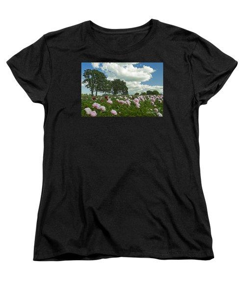 Women's T-Shirt (Standard Cut) featuring the photograph Adleman's Peony Fields by Nick  Boren