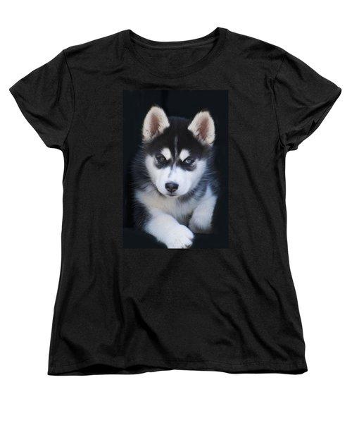Adorable Siberian Husky Sled Dog Puppy Women's T-Shirt (Standard Cut) by Kathy Clark