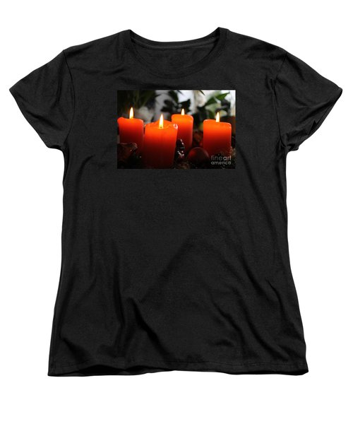 Women's T-Shirt (Standard Cut) featuring the photograph Advent Candles Christmas Candle Light by Paul Fearn