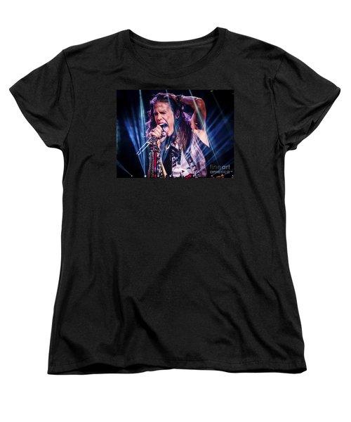 Aerosmith Steven Tyler Singing In Concert Women's T-Shirt (Standard Cut) by Jani Bryson