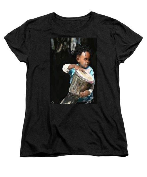 Women's T-Shirt (Standard Cut) featuring the painting African Drummer Boy by Vannetta Ferguson