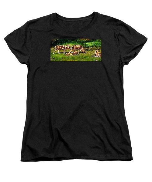 African Wild Dog Family Women's T-Shirt (Standard Cut) by Miroslava Jurcik