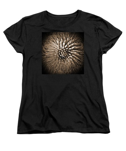 Agave Spikes Sepia Women's T-Shirt (Standard Cut) by Alan Socolik